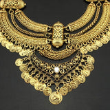 Vintage gold chunky big statement bib chain coin choker necklace jewelry