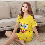 Women's pajama shorts and T shirt - Ladies cotton pyjamas set cartoon characters