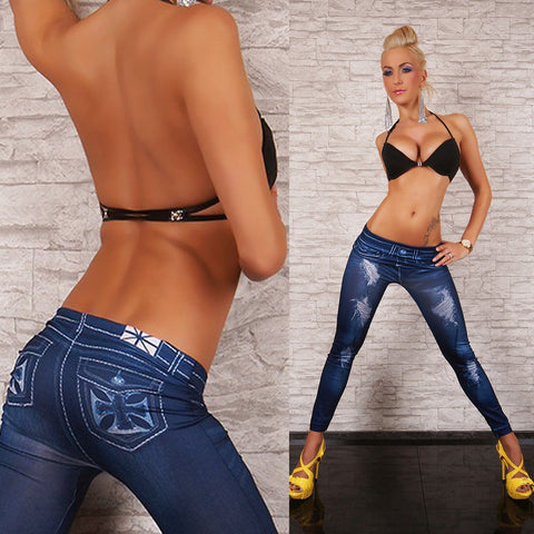 Women denim stretch slim jeggings skinny printed ripped ankle-length blue pants