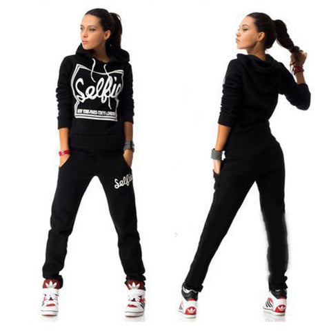 Women's full tracksuit jogger pants and printed hoodie sweatshirt Selfie 2PCS