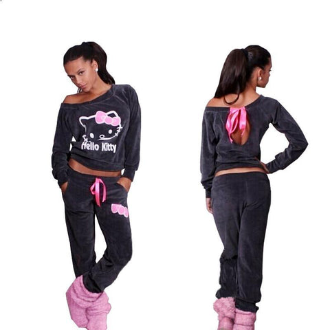 Women's Hello Kitty velvet jogger pants and printed hoodie sweatshirt 2PCS full tracksuit
