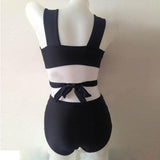 Woman Black Oversize Bikini Padded Push Up Two-Piece Swimsuit High Waist Swimwear