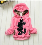 Unisex winter hooded cartoon minnie mouse coat jacket kids for boys and girls
