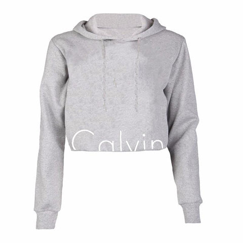 Women Casual Hooded Long Sleeve Sweatshirt Cropped Top Pullover Outwear Tracksuit