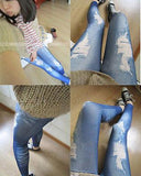 Women denim tight slim jeggings skinny printed ripped blue pants onesize