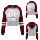 Women casual sweatshirt hooded cotton cropped letter printed design