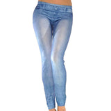 Women denim stretch jeggings skinny blue pants onesize