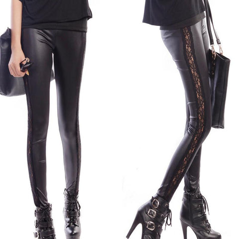 Women black leather leggings slim fit shiny lace pants