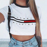 Woman loose tommy t-shirt cotton crop top casual short sleeve