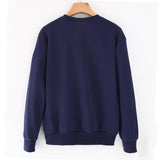 Women sweatshirt velvet / cotton pullover casual letter print long sleeve blue / gray