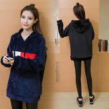Women black sweatshirt pullover warm hoodie casual loose hooded long sleeve
