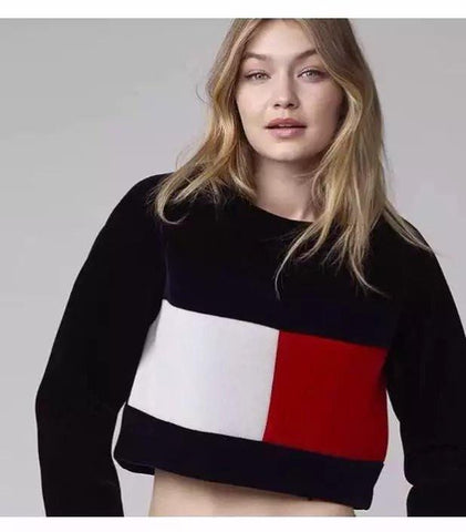 Woman velvet sweatshirt pullover casual thick patchwork crop top long sleeve Tommy plain