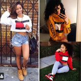Woman sweatshirt pullover casual hooded crop-top long sleeve Tommy Fashion Killa