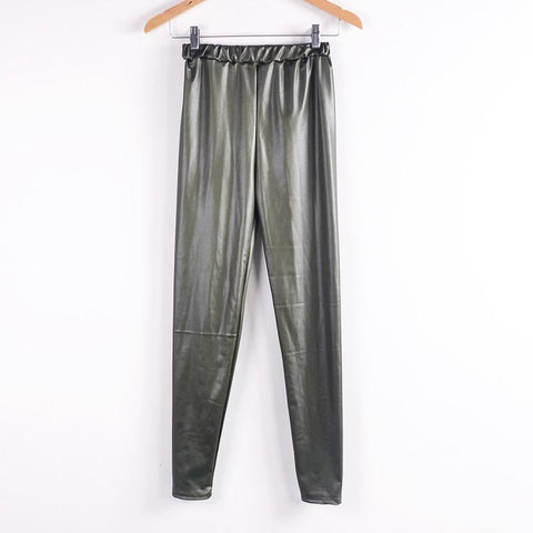 Women black leather leggings Slim shiny elastic ankle-length pants