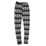 Women knitted patterned leggings - tight stretch printed ankle-length pants