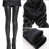 Women black warm leggings high waist stretchable ankle-length Pants