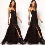 Woman Black Maxi Dress - Summer Boho Long Casual Split Dress Beach Loose Evening