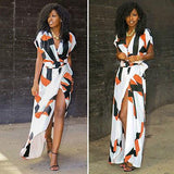 Woman Maxi Dress - Summer Boho Long Casual Printed V-neck Dress Beach Loose Evening