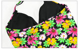 Women Tankini Set Halter Printed Design Padded Swimsuit Beachwear
