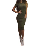 Woman Casual Dress Bodycon Knee-length Plain Short Sleeve Summer Pencil Dress