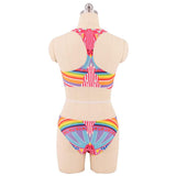 Women Halter Padded Bra Printed Retro Bikini Brazilian Swimsuit Bathing