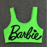 woman crop top letter print barbie unpadded bralette fitness