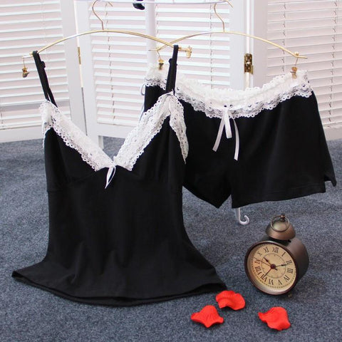 Woman lingerie lace v-neck cotton spaghetti strap set sleepwear nightwear