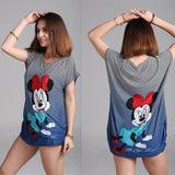 Women Striped Minnie T Shirt Disney Funny Design Vintage Short Sleeve