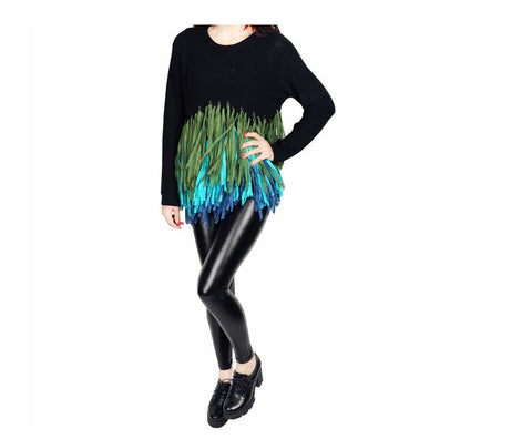 Womens Long Sleeve Knitted Round Neck Tassels Pullover Jumper Sweater Top