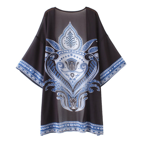 Women's Loose Cover Ups Kimono Cardigan Oversized Summer Chiffon Shawl Blouses