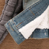 Woman Denim jacket with Movable fur collar - Casaco winter fashion Wool coat in jeans