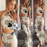 Woman Maxi Dress - Summer Boho Long Floral Halterneck Casual Dress Beach Loose Evening