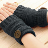 Woman Fingerless Gloves Winter Thick Wool Mittens Knitted Warm Long Wrist with Button