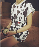 Women T Shirt Disney Designer Short sleeve Funny Mickey Mouse Vintage Cartoon Emoji