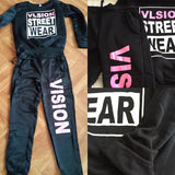 Women's full tracksuit jogger pants and printed hoodie sweatshirt Street Wear 2PCS