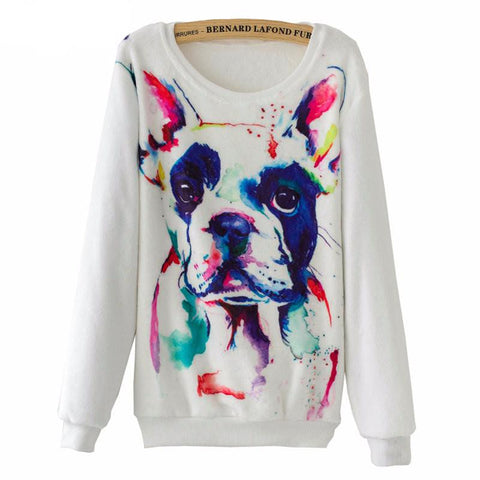Women`s sweatshirt printed pullover long sleeves one size - Colour print on White