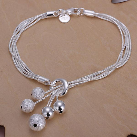 Spiritual Bracelet Five Ball Pendant With Chains Silver Plated Psychic Jewelry For Women