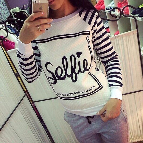 Women`s sweatshirt printed pullover long sleeves size S - L - Selfie