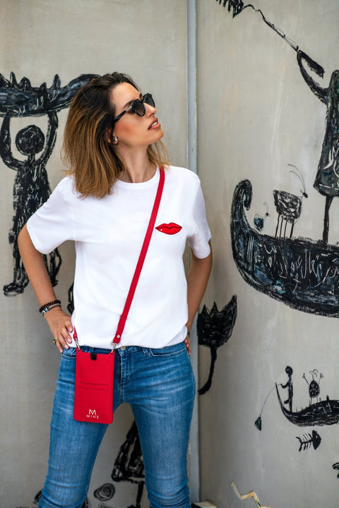LIPS WHITE T SHIRT - MINE BAGS AND ACCESSORIES - MIRA Y MANO