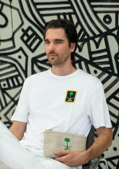 SAUDI EMBLEM WHITE T SHIRT - MINE BAGS AND ACCESSORIES - MIRA Y MANO