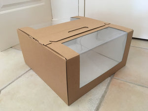 "Kraft Brown Cakebox with window and handles - 9x9x4"" (GB01) or 10x10x4"" (GB02)"