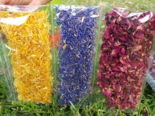 Assorted Edible Petals Flower Decorations Yellow, Red, Blue Combo Sampler (FlowerCombo)
