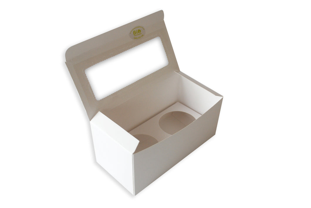 Cupcake Box 2-hole Rectangle with Window (C01) - $0.45each