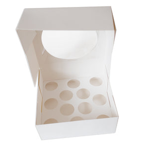 "White Cupcake Box ""12-hole Mini"" with Circle Window (C08)"