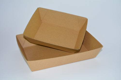 Kraft Corrugated Strong Cardboard Take-away Food Tray Eco (KCTray) - 25pcs