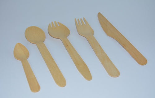 Wooden Biodegradable Cutlery - Spoon, Fork, Spork, Knife, Teaspoon
