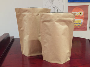 Kraft Coffee Bag Ziplock Pouch with one-way air valve Sizes: 250g, 500g (CP)