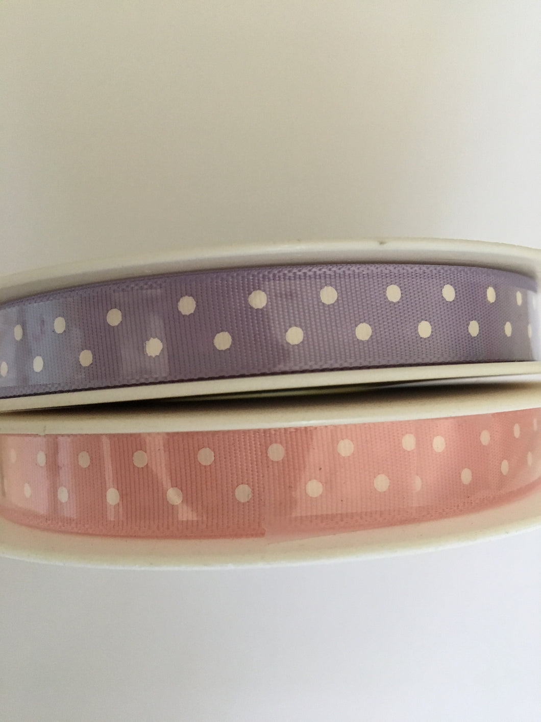 Polka dotted satin ribbon - PINK only