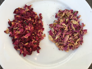 red and pink rose petals for food