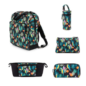 WONDER BAG - Parrot Black Bundle  incl: Stroller Org, Wash Bag, Bottle Holder, Wallet